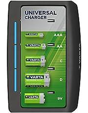 VARTA universalladdare - LED-laddningsindikator - säkerhetsavstängning - exklusiv VARTA-design - Laddar 2 eller 4 AA, AAA, C, D eller 1x 9V