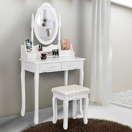 Bonnlo Modern Vanity Set Wooden White Vanity Makeup Table with 4 Drawers&Vanity Stool
