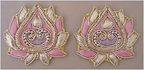 3 Hand-Beaded Silver Appliques Bullion Embroidery 2¾ Inches by 2½ Inches Sewing