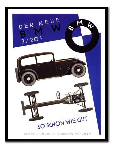 Iposters Bmw 1931 Car Advert Print Magnetic Memo Board Black Framed - 41 X 31 Cms (approx 16 X 12 Inches)