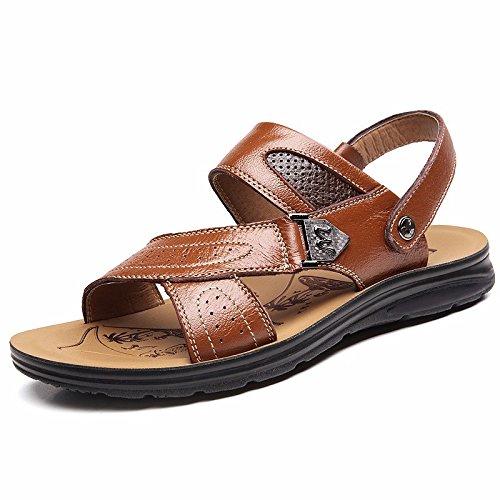 estate vera pelle sandali Uomini Spiaggia scarpa Uomini sandali Uomini scarpa traspirante Tempo libero scarpa Uomini tendenza ,gialloB,US=7,UK=6.5,EU=40,CN=40