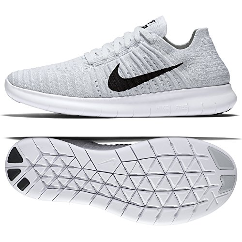 Nike Women's Free Running Motion Flyknit Shoes, White/Black-pure Platinum - 7.5 B(M) US