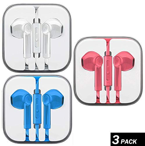 Ultimate-Audio 3-Pack Premium Earphones/Earbuds/Headphones with Stereo Mic&Remote Control Compatible with iPhone iPad iPod Samsung Galaxy & More Android Smartphones, PC 3.5 mm Headphone Audio Jack