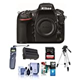 Nikon D810 Digital SLR Camera, 36.3MP - Bundle with Lexar Pro 32GB Class 10 SDHC Card, Spare EN-EL15 Battery, Tripod, Flashpoint Wired Remote Shutter Trigger, Cleaning Kit, Software Package