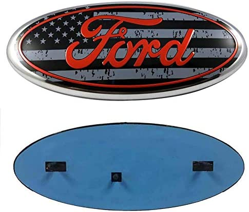 CARRAC Oval 9X3.5 Inches Front Grille Rear Tailgate Emblem for 04-14 F150 F250 F350 11-14 Edge 11-16 Explorer 06-11 Ranger (black American Flag)