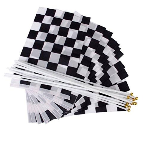 Racing Flag Black White Checkered Flag Hand Held Stick Flag Pack of 12