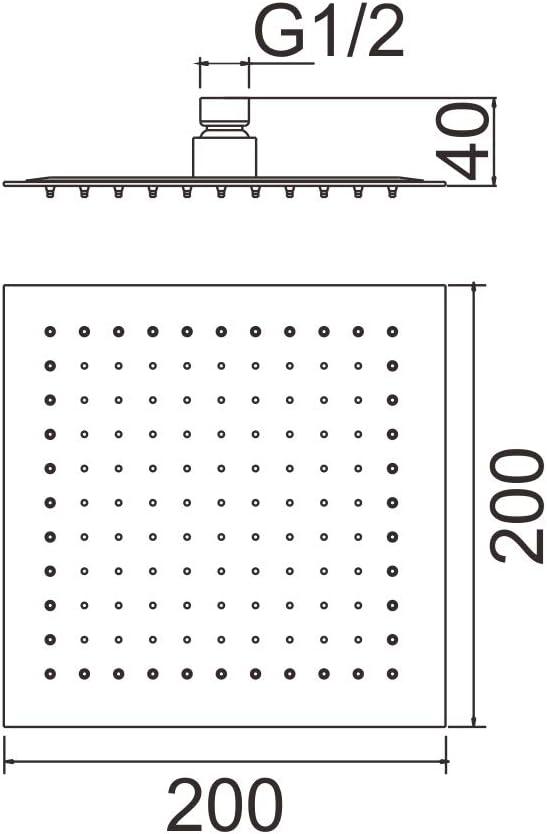 200 200MM Ibergrif M20292 Doccia a Pioggia Argento Cromo Soffione Quadrato Acciaio