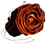 Romantic Rosette Rose Evening Handbag, Clasp Purse Clutch w/Hidden Chain