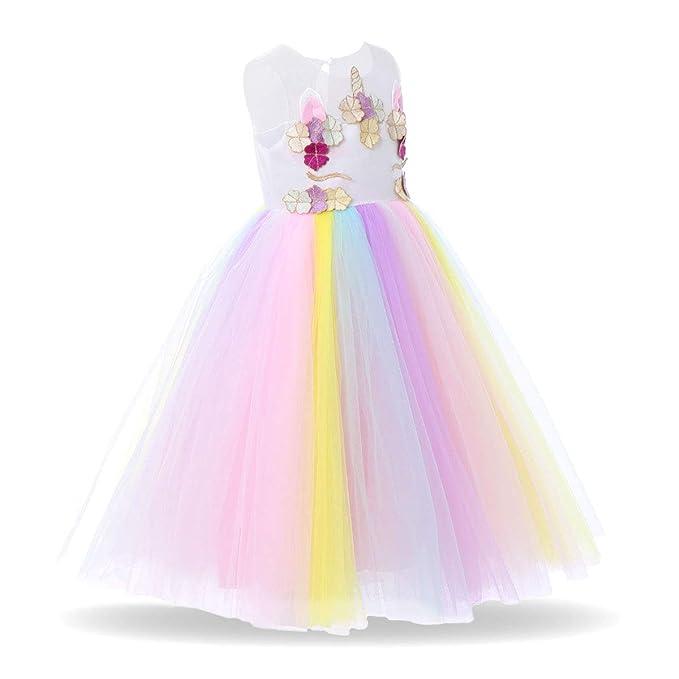 f2de402992e5 IBTOM CASTLE Baby Girls Unicorn Rainbow Party Dress Toddler Sleeveless  Princess Birthday Wedding Dress Halloween Dressing