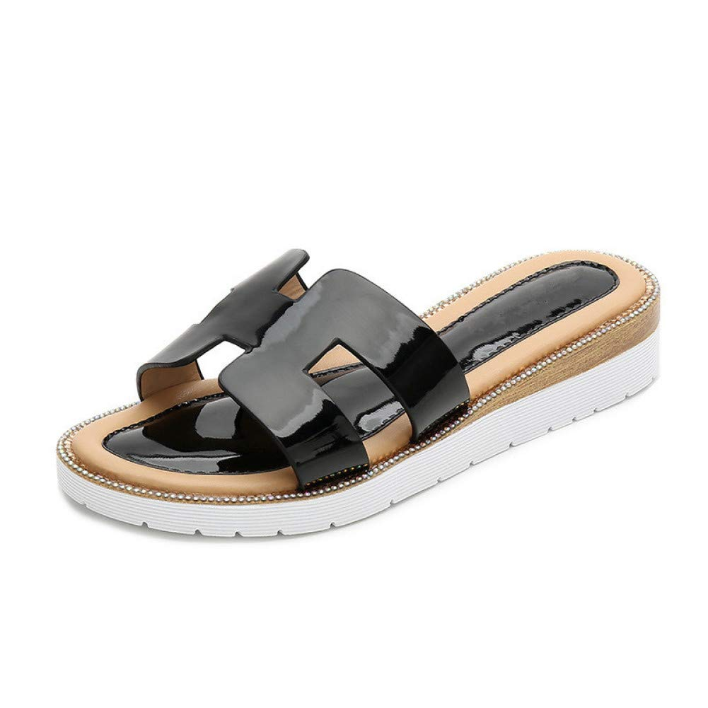 Black 7 ZJHZJ Sandals Women Winter Warm Women Flat NonSlip Solid Slides Slides Large Size Sandalias Drop