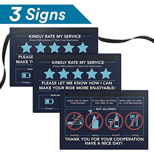 Uber-Sign-Lyft-Rideshare-Accessories---6-x-4---Customized-Rating-Tip-Hang-Tag-for-Car---Personalized-Tipping---Includes-2-Please-Rate-My-Service-1-Substances-Not-Allowed-Signs-Set-of-3