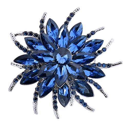 ElegantPark BP1705 Crystals Brooch Pin Women Fashion Jewelry Blooming Flowers Navy Blue (Flower Removable Pin)