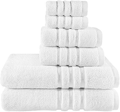 osmon Bath Towel Set Cotton Towels 6 Pieces Luxury Highly Absorbent Hotel Spa Gym 2 Bath Towels 2 Hand Towels 2 Washcloths
