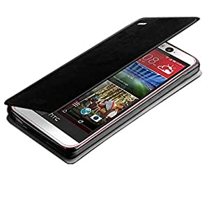 scratch guard+MOFI Slim Leather Flip Cover Case stand for HTC Desire 820Q (Black)