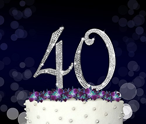 40, 40th Happy Birthday Cake Topper, Vow Renewal, Anniversary, Crystal Rhinestones on Silver Metal, Party Decorations, Favors, (Birthday Cake Favor)