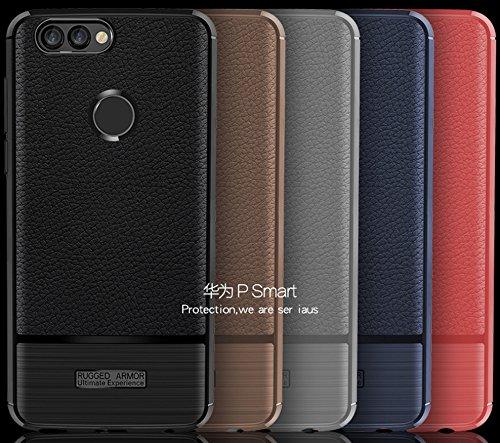 Funda Huawei P Smart,Funda Fibra de carbono Alta Calidad Anti-Rasguño y Resistente Huellas Dactilares Totalmente Protectora Caso de Cuero Cover Case Adecuado para el Huawei P Smart E