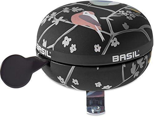 Basil Ding Dong Fahrradglocke Wanderlust schwarz mit V/ögel Blumen 2-Klang /Ø 80mm XXL Fahrradklingel