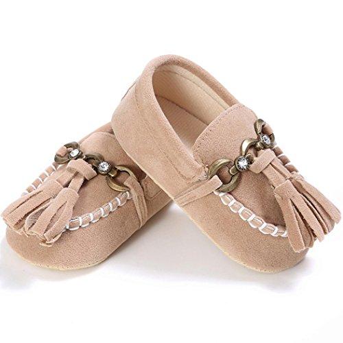 Hunpta Baby Kleinkind niedliche Krippe Schuhe auf Komfort schlüpfen Schuhe Loafers weichen Prewalker Anti Rutsch Schuhe 0-18 Monate (Alter: 12 ~ 18 Monate, Rot) Khaki