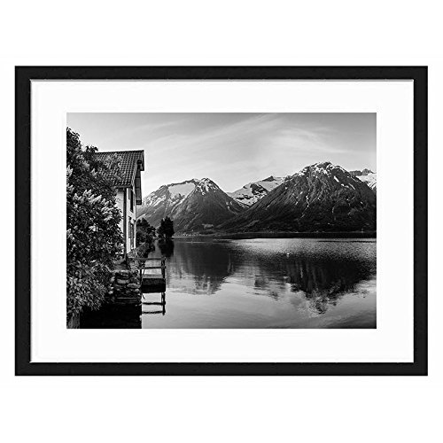 Tcrying House Mountian Flower - Art Print Wall Black Wood Grain Wall Art Picture 20x14 Inches Framed price