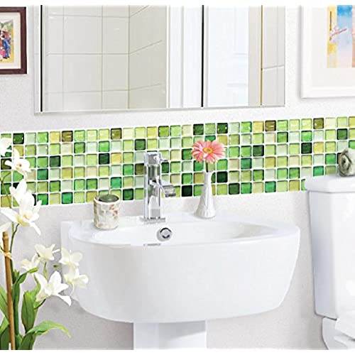 Beaustile 2 Sheets N Green Mosaic 3D Wall Sticker Home Decor Fire Retardant  Backsplash Wallpaper Bathroom Kitchen DIY Design