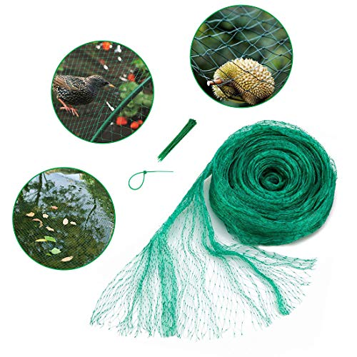 33x13 Ft Anti Bird Net & Pond Netting w/ 10 Pcs Nylon Cable Ties, Green Garden Plant and Pond Protection Netting, Garden Plant Fruits Net Mesh, Keeps Out Debris, Pests (Best Way To Keep Squirrels Out Of Garden)