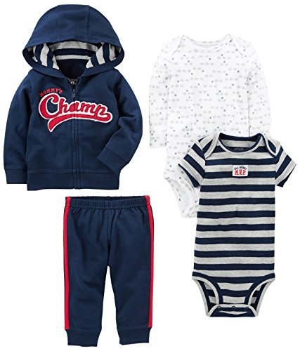 Simple Joys by Carter's Boys' 4-Piece Little Jacket Set, Navy Champ, 12 Months Jacket Sleepwear
