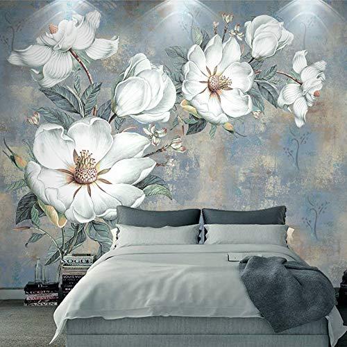 MADEYU Custom Photo Wallpaper 3D Embossed White Flowers Oil Painting Wall Paper Bedroom Living Room European Style Mural Wall Coverings,350x256cm