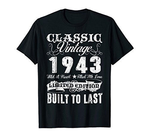 Vintage 1943 Shirt 75th Birthday Gifts 75 Years Old Awesomne