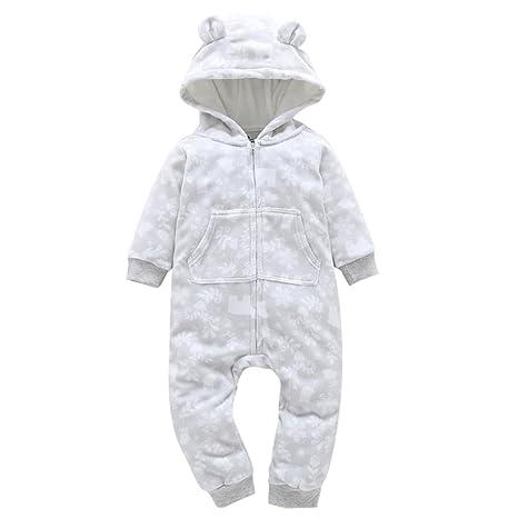 Sonnena Navidad bebé niños niñas impresión gruesa con capucha Pelele Mono Ropa de Hogar