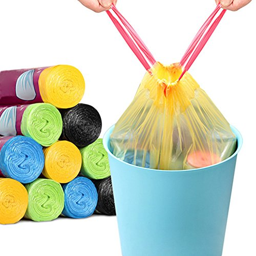 10 Rolls 150PCS Portable Colorful Drawstring Kitchen Trash Bag Thick Home Office Large Size Plastic Garbage Bags