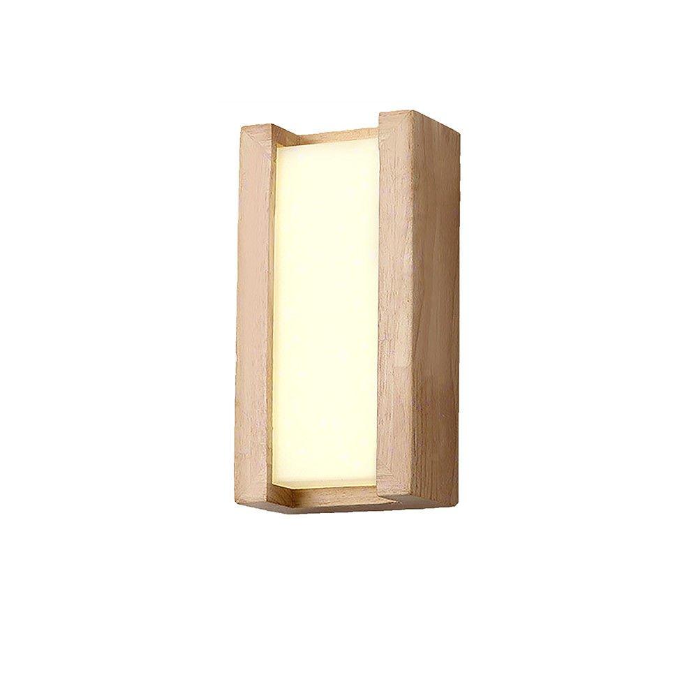 Wall Lamps,Solid Wood Aisle lamp Creative Bedside lamp Bedroom Wall 14x14x6cm (Warm Light) Bracket Light