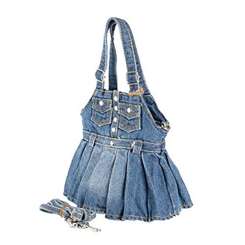 Donalworld Women Cute Mini Dress Jeans Denim Shoulder Bags Dblue