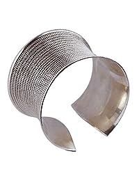 81stgeneration Women's Sterling Silver Heavy Bangle Bracelet Large Wide Cuff