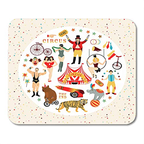 Emvency Mouse Pads Circus Vintage Collection The