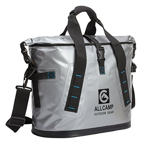 ALLCAMP OUTDOOR GEAR TLC14002A1MN ALLCAMP Hopper Portable Cooler Bag 25L with 5 ice Pack boxs(Solid Silv, Large, Silver