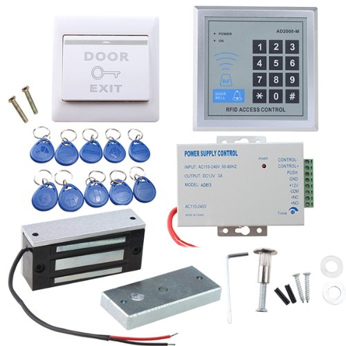 Door Access Control System, AGPtEK RFID Home Security Kit with 60kg 130LB Electromagnetic Lock, Power Supply, Proximity Door Entry keypad 10 Key Fobs EXIT - Magnetic Cutting System