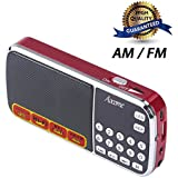 Aocome Portable Mini USB AM FM Radio Speaker Music Player Micro SD TF Card For PC iPod iPhone and other android phones (BM8 Red)