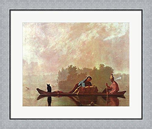 Fur Traders Descending the Missouri by George C. Bingham Framed Art Print Wall Picture, Flat Silver Frame, 29 x 24 - Hudson Bingham