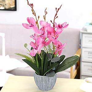 YOBANSA Big Size Orchid Bonsai Artificial Flowers with Imitation Porcelain Flower Pots Phalaenopsis Fake Flowers Arrangements for Home Decoration (Rose Red) 4