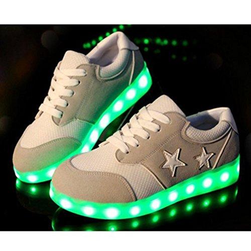 (Present:small towel)JUNGLEST LI & HI colorful star LED Light USB Charging adult pairs of shoes autumn and winter sports shoes casual shoes luminous current U Grey bA7KVqW