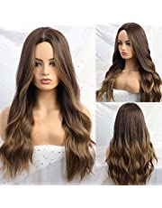 HAIRCUBE Brown Wig Middle Parting Long Curly Women's Wigs NONE Lace 24 Inch Wigs for Women Natural Looking Synthetic Wigs