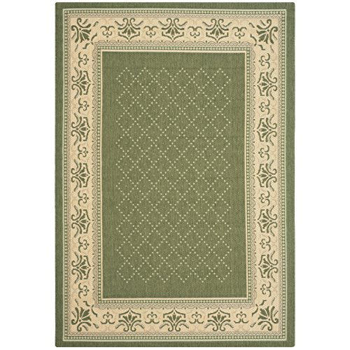 - Safavieh Courtyard Collection CY0901-1E06 Olive and Natural Indoor/ Outdoor Area Rug (4' x 5'7