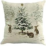 Ninasill 45X45 cm Pillow Case, ღ ღ Christmas Printing Dyeing Sofa Bed Home Decor Pillow Cover Cushion Cover (E)