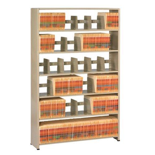 "Tennsco 127648PC Imperial Open Shelf Filing Unit, Single Entry Starter, 7 Shelves/6 Openings, 48"" Width x 76"" Height x 12"" Depth, Sand"