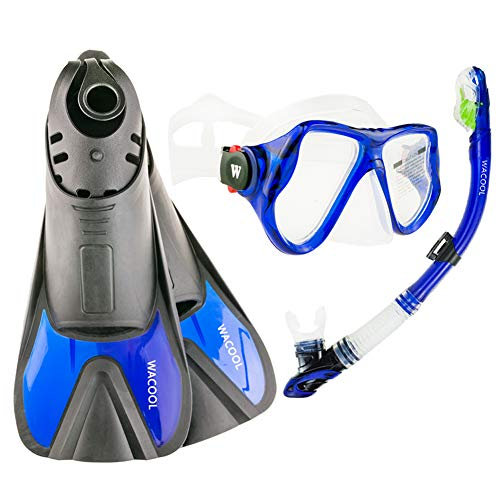 WACOOL Snorkeling Package Set for Adults, Anti-Fog Coated Glass Diving Mask, Snorkel with Silicon Mouth Piece,Purge Valve and Anti-Splash Guard w/Travel Short Swim Fins (Blue L)
