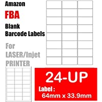 24-UP - 480 Amazon FBA Shipping Labels 64mm x 33.9mm on A4 White Self Adhesive Shipping Mailing stickers for Laser/InkJet Printer 20 Sheets