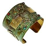 Patina Brass Egyptian Scarab Motif Wide Cuff Bracelet - Carnelian, Navy Onyx, Turquoise