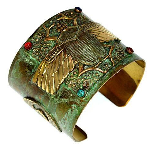 Patina Brass Egyptian Scarab Motif Wide Cuff Bracelet - Carnelian, Navy Onyx, Turquoise ()