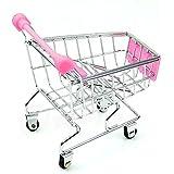 callm Toy Mini Supermarket Handcart Shopping Utility Cart Mode Storage Basket Desk (Pink)