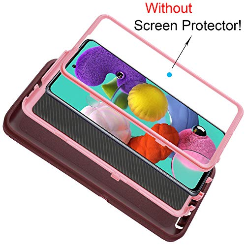 smartelf Case for Samsung A51 Heavy Duty Shockproof Drop Protection Dual Layer Protective Cover for Samsung A51 6.5 inch [4G Version] -Purple/Pink